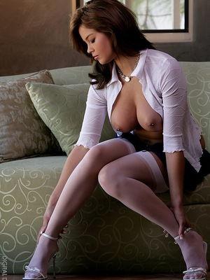 in white thigh-highs and a...